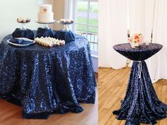 Amazon.com - B-COOL 72'' Round Navy Sequin Tablecloth, Wedding Table Cloth, Sparkle Sequin Linens -