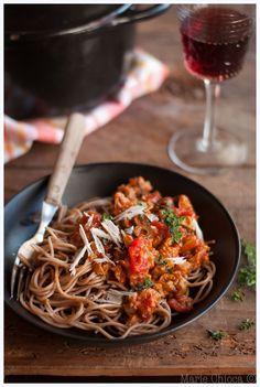 Spaghettis d'épeautre, avec une bolognaise végétale au seitan qui déchire… (Vegan, Sans lait, Sans Oeufs, IG Bas)