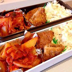 タコが思ったより少なかった(^_^;) ま、いいや。 - 17件のもぐもぐ - お弁当♡タコとジャガイモのトマト煮、メンチカツ、雑穀ご飯 by usaco123