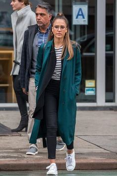 Jessica Alba wearing Adidas Stan Smith Bold Sneakers, J Brand Harper Top and Sandro Bao Twill Coat