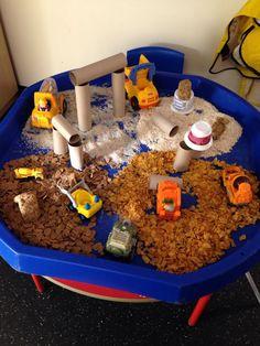 Construction site – malleable tray/sensory – to Eyfs Activities, Nursery Activities, Work Activities, Infant Activities, Indoor Activities, Summer Activities, Family Activities, Tuff Spot, Sensory Bins