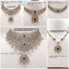 These Detachable Diamond Jewellery Designs Will Blow Your Mind! • South India Jewels India Jewelry, Temple Jewellery, Pearl Jewelry, Gold Jewelry, Gold Necklace, Indian Jewellery Design, Jewelry Design, Diamond Choker, Diamond Jewellery