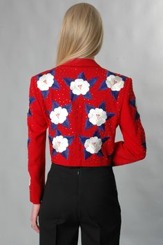 Ladies' Red Short Jacket with Blue and White Embroidered Flowers and Rhinestones | Manuel Couture Online Store