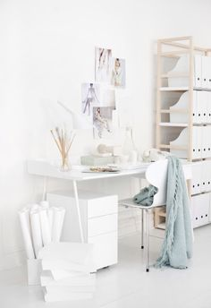 all white. work space.