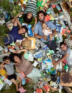 Photos of people laying in their trash