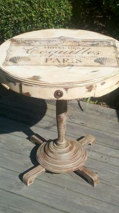 old side table redo... a bit of chalk paint and a wonderful french transfer!