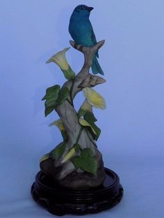 BOEHM PORCELAIN INDIGO BUNTING BIRD FLORAL MORNING GLORY FIGURINE 400-33