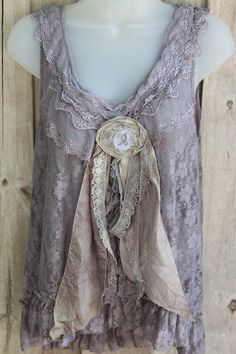 Romantic Ruffled Net Lace French Grey Top With Tattered French Silk