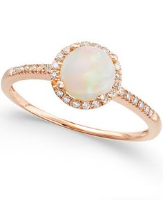 Opal (3/4 ct. t.w.) and Diamond (1/8 ct. t.w.) Ring in 14k Rose Gold - Rings - Jewelry & Watches - Macy's