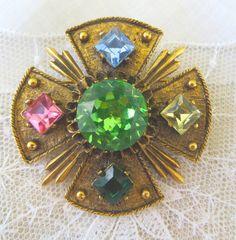 Vintage Dodds Jeweled Maltese Cross Brooch by VintageVogueTreasure, $52.00