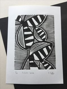 monochrome hand pulled leaf lino print limited edition of 20 available to purchase