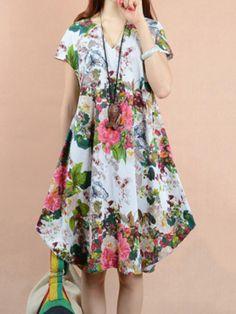 O-NEWE Vintage Women Flower Printed V-Neck Dress - Banggood Mobile
