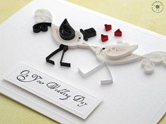 Wedding handmade greeting card - paper quilling birds