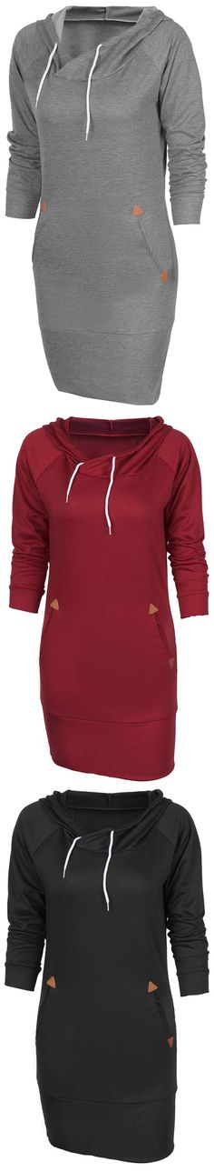 Softy and comfy hooded dress, $21.99! Free shipping & Easy Return + Refund! It's kind of breathtaking! The trendy bodycon style, side pockets and solid color take this dress to the peak of its trendiness!