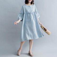 Cute High Waist Cotton Linen Dresses Women Casual Clothes Q1862   FantasyLinen