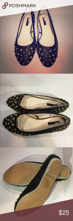 "‼️ LOWEST ‼️ NWOT Urban Outfitters stud flats BDG Brand New never worn! Flats from urban outfitters - black flats with gold studs. Are from urban outfitters and the brand listed on it is ""BDG"" Urban Outfitters Shoes Flats & Loafers"