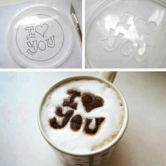 Make a cute coffee message:  Write down on a plastic cover and cut the letters out. Cover cup of coffee and sprinkle cinnamon or cocoa on top of the stencil.    #ideas #love #cute #DIY #coffee #fun #easy #tricks #tips