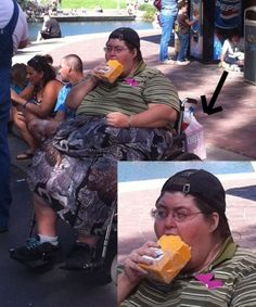 When i'm done with my snack i'll move onto the two liter of pepsi and box of cheeseitz I have in the bag on my fat fucks roller chair