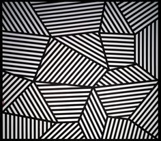 """Sol LeWitt - Wall Drawing -  On three walls, continuous forms with alternating 8"""" (20 cm) black and white bands. The walls are bordered with an 8"""" (20 cm) black band."""