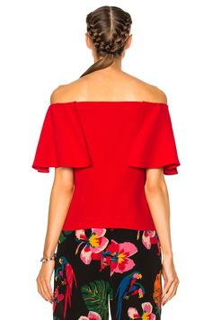 Image 4 of Valentino Off The Shoulder Top in Red