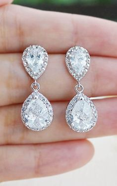 Luxury Cubic Zirconia Halo Style bridal earrings from EarringsNation