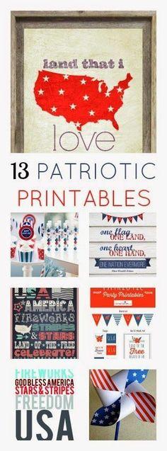 #papercraft #printables: 13 FREE #Patriotic Printables - from Sugar Bee Crafts http://www.sugarbeecrafts.com/2014/06/13-free-patriotic-printables.html?utm_content=bufferbbb92&utm_medium=social&utm_source=pinterest.com&utm_campaign=buffer
