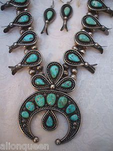 Vintage NAVAJO Sterling Silver Turquoise Demi Parure Earrings & Squash Blossom Necklace SET | eBay