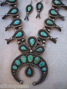 Vintage NAVAJO Sterling Silver Turquoise Demi Parure Earrings & Squash Blossom Necklace SET | eBay