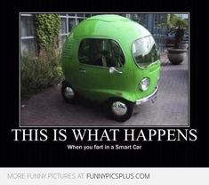 """Silly quote about cars with funny photo. """"This is what happens when you fart in a Smart car."""" This is guaranteed to make you giggle at least a little bit. Smart Auto, Smart Car, Car Jokes, Funny Car Memes, Hilarious, Funny Cars, Truck Memes, Silly Memes, Funny Images"""