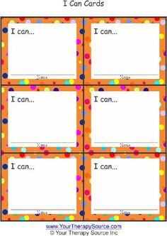 """Motivate your students with """"I Can"""" cards. Free printable."""