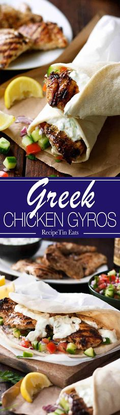Greek Chicken Gyros with Tzatziki - the marinade for the chicken is so good, I use it even when I'm not making gyros! www.recipetineats.com Chicken Gyro Recipe, Chicken Gyros, Chicken Recipes, Marinade Chicken, Tzatziki Chicken, Chicken Wraps, Shrimp Recipes, Chicken Ideas, Roast Chicken