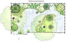 Privacy Entry Planting Ideas - While this design plan may be a bit hard to follow, it has some great detail on shapes, planting ideas, flow, and creating privacy and spaces in the front entry of this home.