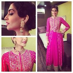 Pretty in pink. Sonam Kapoor in an Anita Dongre lehenga skirt and Jaipur Bandhani jacket.