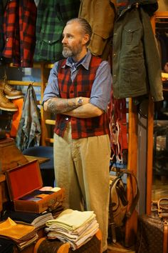 The lumberjack man! I'm after the Filson red plaid vest similar to this one.