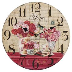 Home Decoration Vintage Style Shabby Chic MDF Flowers and Home Scene Vintage Style Wall Clock Obique http://www.amazon.co.uk/dp/B00ME95EE2/ref=cm_sw_r_pi_dp_ngbeub0M7F6JA #chic #clock #home
