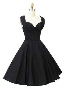 1950s Style Black Swing Dress