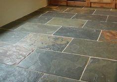 Gray green slate flooring