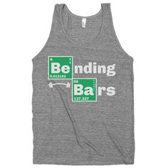 Bending Bars.  Breaking Bad Fitness Parody t shirt.  workout tank, Womens, Nerdy, Heisenberg, Mens, Geek, Exercise, Outfit. on Etsy, $20.67 CAD