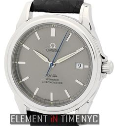 #Omega De Ville Co-Axial Chronometer Date 38mm iN Stainless Steel With A Grey Stick Dial (4831.40.31)