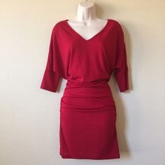 Red Chili Sweater Knit Dress NWOT! Brand new, never been worn. V-neck neckline in the front and back. Slightly ruched on the sides for a more flattering fit. Dress it up with a belt. Perfect dress for any occasion: holiday parties, date night, girls night out, or Valentine's Day! Size small, but fits like a medium.❗️Dress was gathered at the waist and pinned back to fit the mannequin nicely❗️ Zenana Outfitters Dresses