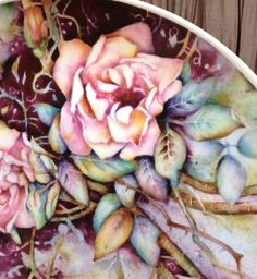 Rose painted on China by Mark Jones