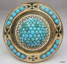 Victorian Turquoise 14k Yellow Gold Enamel Brooch