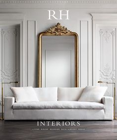 ▷ 1001 + ideas for living room wall paint ▷ 1001 + Ideen für Wohnzimmer Wandfarbe 2018 White wall paint, large mirror with golden frame, white sofa and floor lamps -