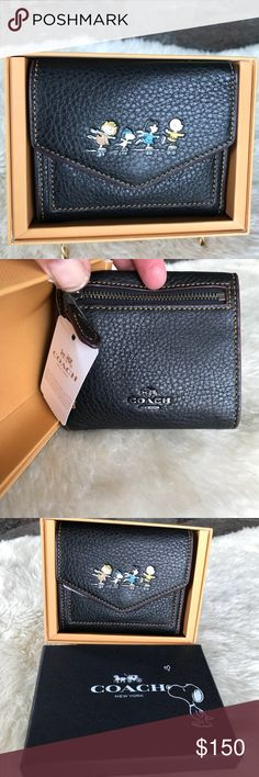 """Coach Peanuts Small Wallet Coach Peanuts Small Wallet in natural black pebble leather.  It has 7 credit card slots and a full length bill compartment.  It has a snap closure and an outside zip coin pocket.  It measures 4.25""""L x  3.75""""H.  It comes in cute gift box! Great Holiday gift! Coach Bags Wallets"""