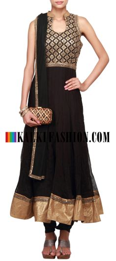 Buy Online from the link below. We ship worldwide (Free Shipping over US$100)  http://www.kalkifashion.com/black-anarkali-suit-embellished-in-thread-and-sequence-only-on-kalki.html