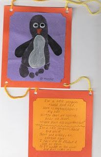 Footprint Penguin Wall Hanging  **Penguin Poem-- I am a bird you know quite well, All dressed in black and white.  And even though I do have wings, They're not designed for flight. I waddle, waddle, waddle,  On my funny little feet. Across the icy snow I go, To find a fishy treat.
