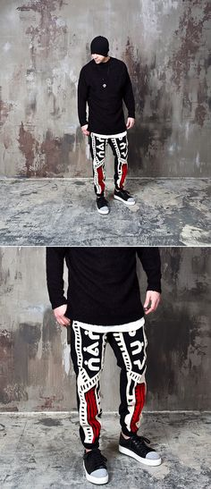 Indian vibe pattern accent black sweatpants - 233