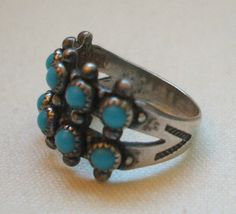 Vintage BELL Jewlery TURQUOISE Petit Point RING size 6.5 SOUTHWESTERN Tribal