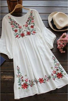 Azbro Women's Embroidery Floral Peasant Dress