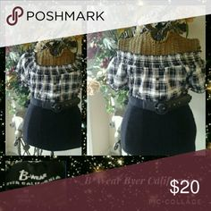 Top Black & white, on or off shoulder checkered top with black belt. Elastic collar & spandex ribbed lower portion. 3 accent buttons on front. B*Wear Tops